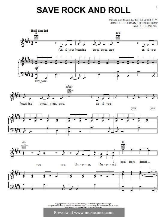 Save Rock and Roll (Fall Out Boy): Para vocais e piano (ou Guitarra) by Andrew Hurley, Joseph Trohman, Patrick Stump, Peter Wentz