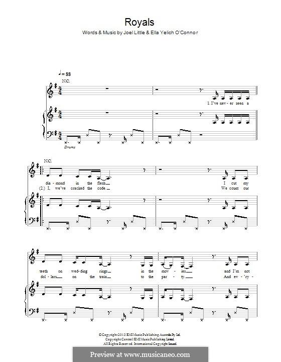 Royals (Lorde): Para vocais e piano (ou Guitarra) by Ella Yelich-O'Connor, Joel Little