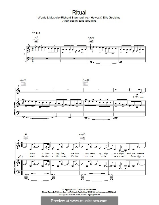Ritual: Para vocais e piano (ou Guitarra) by Ashley Howes, Ellie Goulding, Richard Stannard