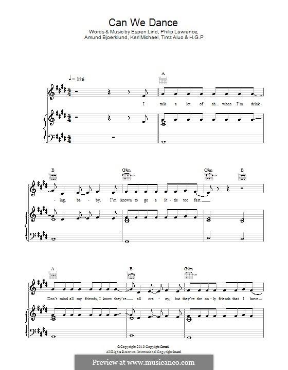 Can We Dance (The Vamps): Para vocais e piano (ou Guitarra) by Amund Bjorklund, Espen Lind, Philip Lawrence, Karl Michael, Timz Aluo