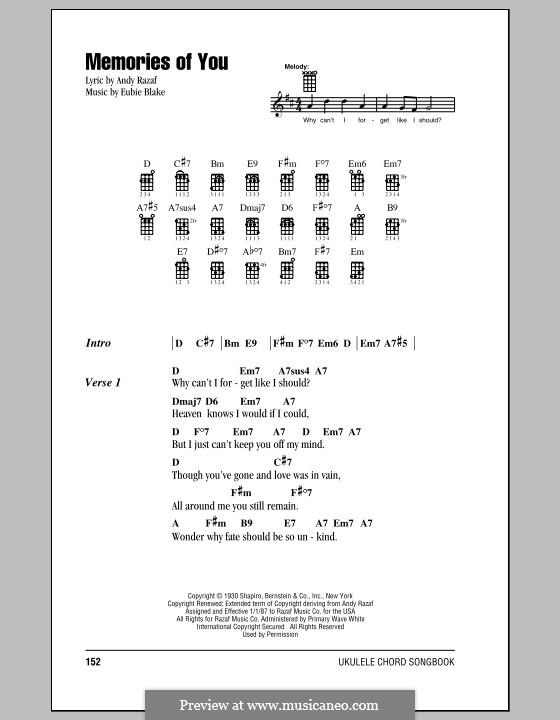 Memories of You: para ukulele by Eubie Blake