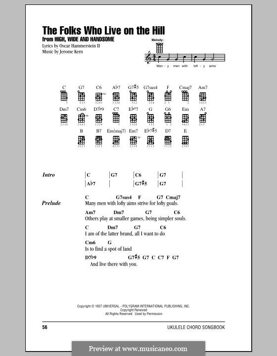 The Folks Who Live on the Hill: para ukulele by Jerome Kern