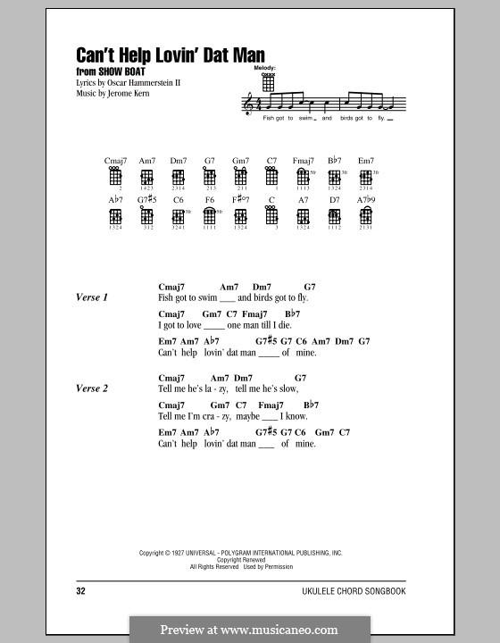 Can't Help Lovin' Dat Man (from Show Boat): para ukulele by Jerome Kern