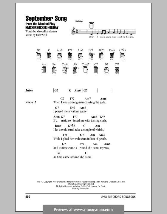 September Song: para ukulele by Kurt Weill
