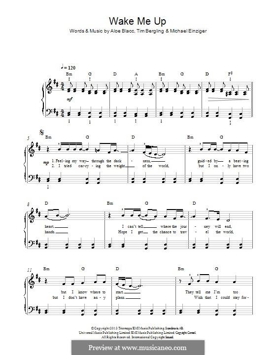 Wake Me Up: Para Piano by Aloe Blacc, Michael Einziger, Avicii, Arash Andreas Pournouri