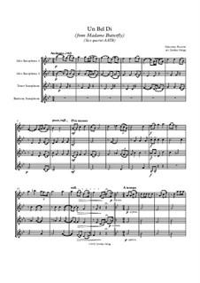 Madama Butterfly : Un bel dí, for sax quartet AATB by Giacomo Puccini