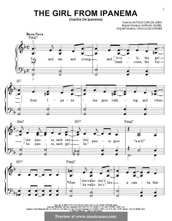 The Girl from Ipanema (Garota de Ipanema), for Piano: versão muito facil by Antonio Carlos Jobim