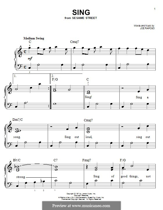 Sing (The Carpenters): Para Piano by Joe Raposo