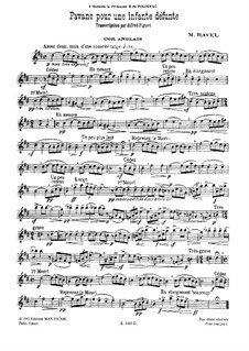 Pavane pour une infante défunte (Pavane for a Dead Princess), M.19: For cor anglais and piano by Maurice Ravel
