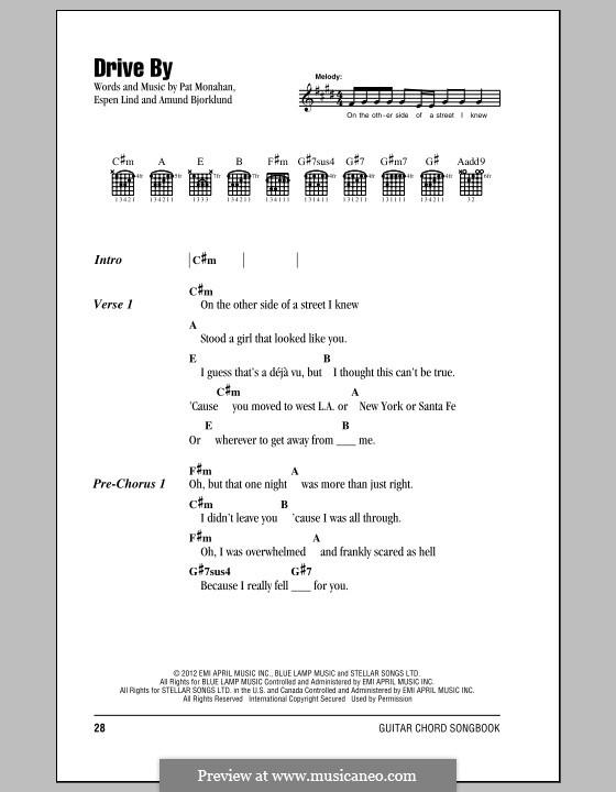 Drive By (Train): Letras e Acordes by Amund Bjorklund, Espen Lind, Patrick Monahan