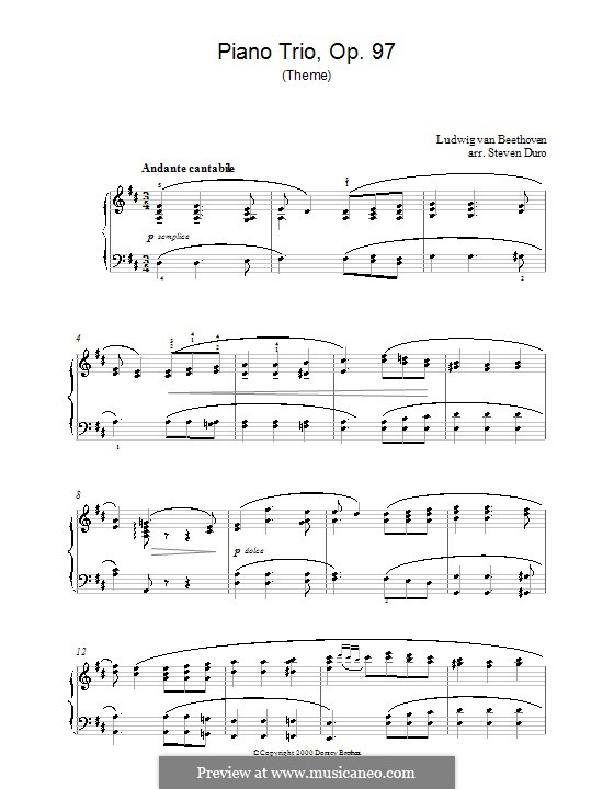 Trio for Violin, Cello and Piano No.7 'Archduke', Op.97: Movement III (Theme). Version for piano by Ludwig van Beethoven