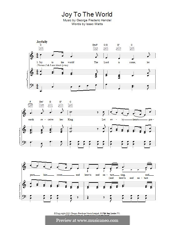 Joy to the World (Printable Scores): Para vocais e piano by Georg Friedrich Händel