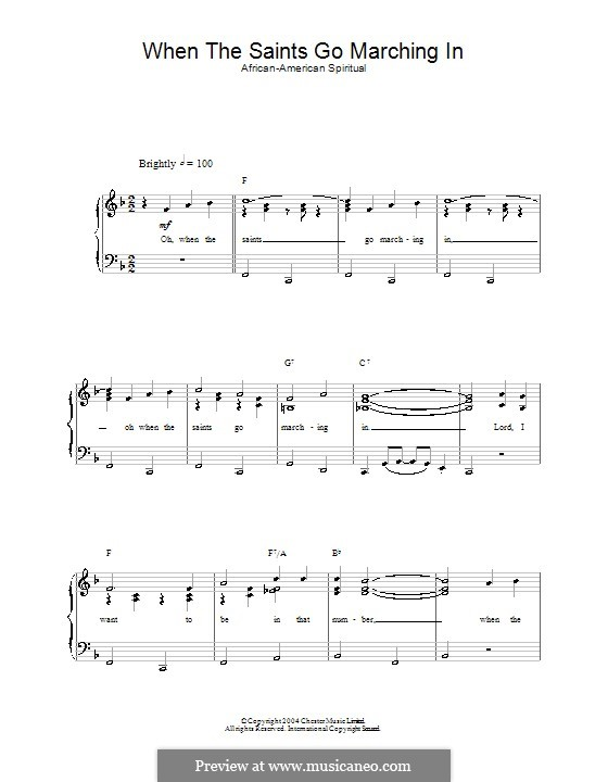 When the Saints Go Marching in: Para vocais e piano by folklore