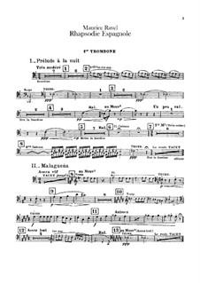 Rapsodie espagnole, M.54: parte de trombones e tubas by Maurice Ravel