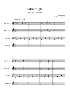 Silent Night (Downloadable): For orff orchestra by Franz Xaver Gruber