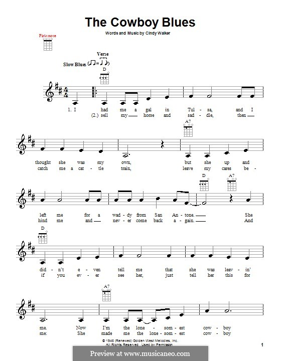 The Cowboy Blues: para ukulele by Cindy Walker