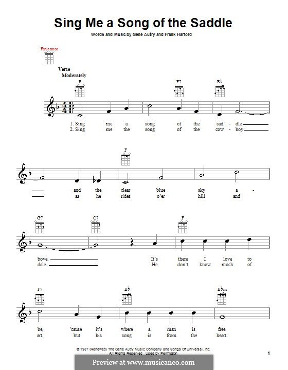 Sing Me a Song of the Saddle: para ukulele by Frank Harford