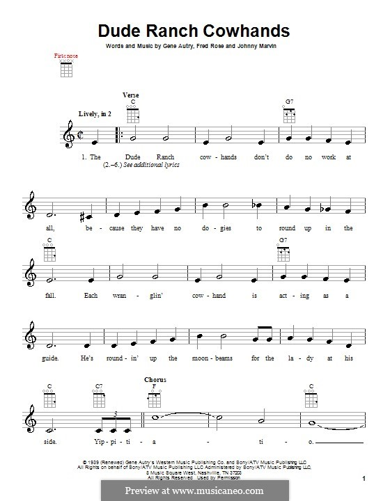 Dude Ranch Cowhands: para ukulele by Fred Rose, Johnny Marvin