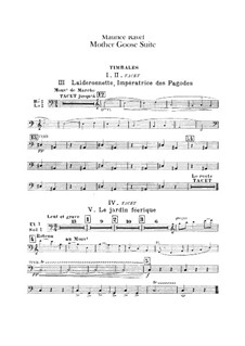 Ma mère l'oye (Mother Goose). Suite, M.60: For orchestra – percussion part by Maurice Ravel