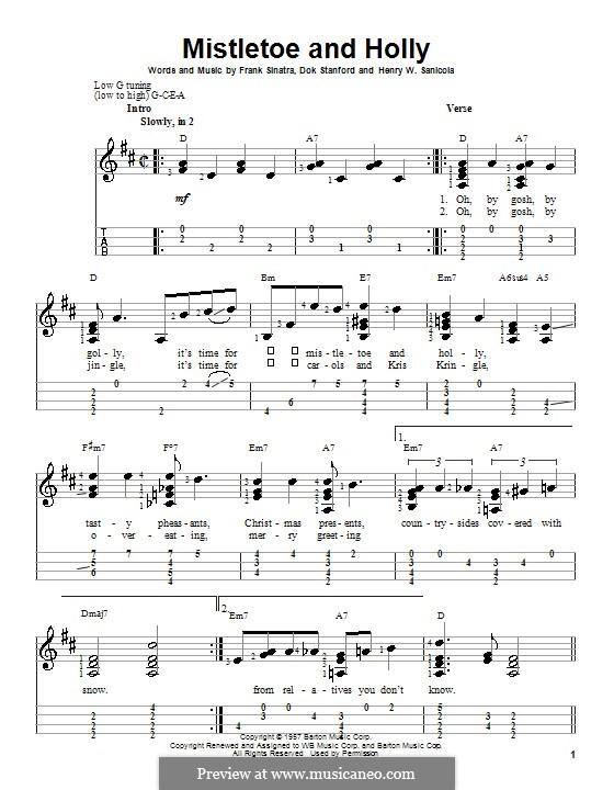 Mistletoe and Holly (Frank Sinatra): para ukulele by Dok Stanford, Henry W. Sanicola