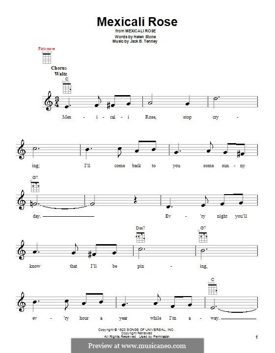Mexicali Rose (Bing Crosby): para ukulele by Helen Stone, Jack B. Tenney