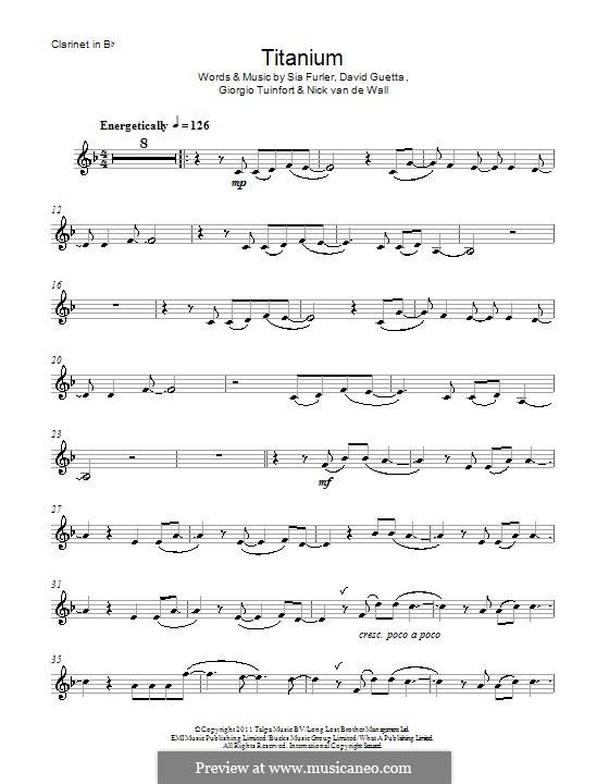 Titanium: para clarinete by David Guetta, Giorgio Tuinfort, Nick van de Wall, Sia Furler
