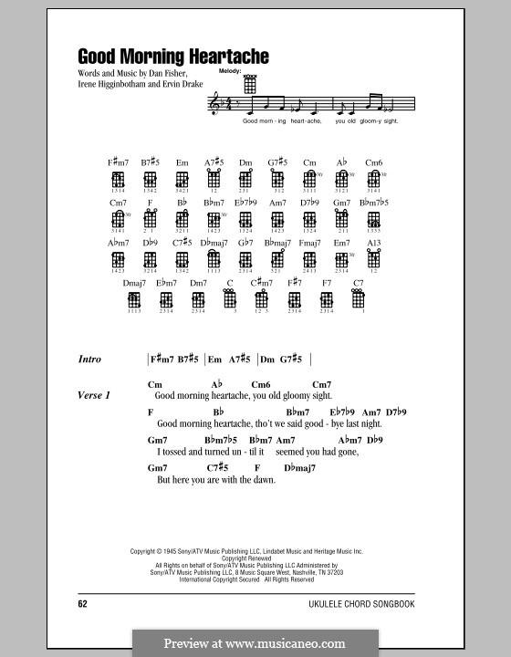 Good Morning Heartache (Billie Holiday): para ukulele by Daniel Fisher, Ervin Drake, Irene Higginbotham
