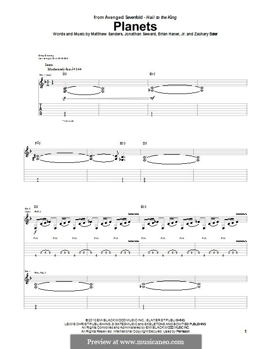 Planets (Avenged Sevenfold): Para guitarra com guia by Brian Haner Jr., Jonathan Seward, Matthew Sanders, Zachary Baker