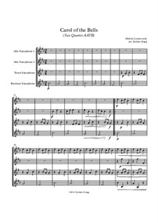 Carol of the Bells: For sax quartet AATB by Mykola Leontovych