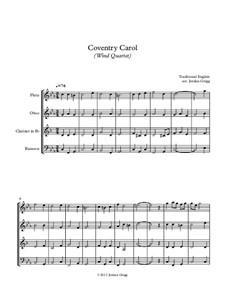 Coventry Carol: Para quarteto de sopro by folklore
