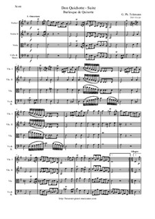 Burlesque de Quichotte. Suite in G Major for Strings and Basso Continuo, TWV 55:G10: Score and parts by Georg Philipp Telemann