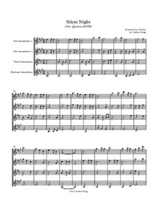 Silent Night (Downloadable): For sax quartet AATB by Franz Xaver Gruber