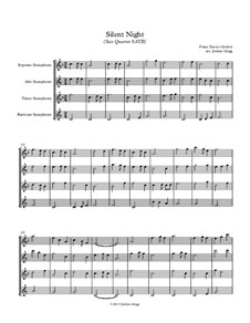 Silent Night (Downloadable): For sax quartet SATB by Franz Xaver Gruber