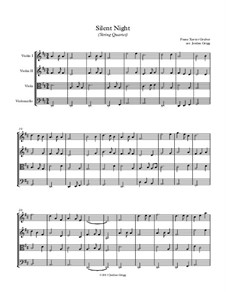 Silent Night (Downloadable): para quartetos de cordas by Franz Xaver Gruber