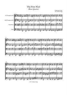 The First Nowell (The First Noël): para quarteto de bronze by folklore