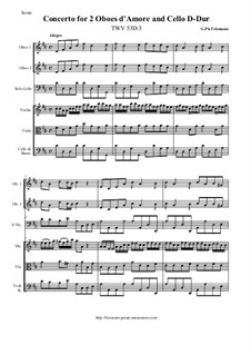 Concerto for Two Oboes d'Amore and Cello in D Major, TWV 53:D3: Concerto for Two Oboes d'Amore and Cello in D Major by Georg Philipp Telemann