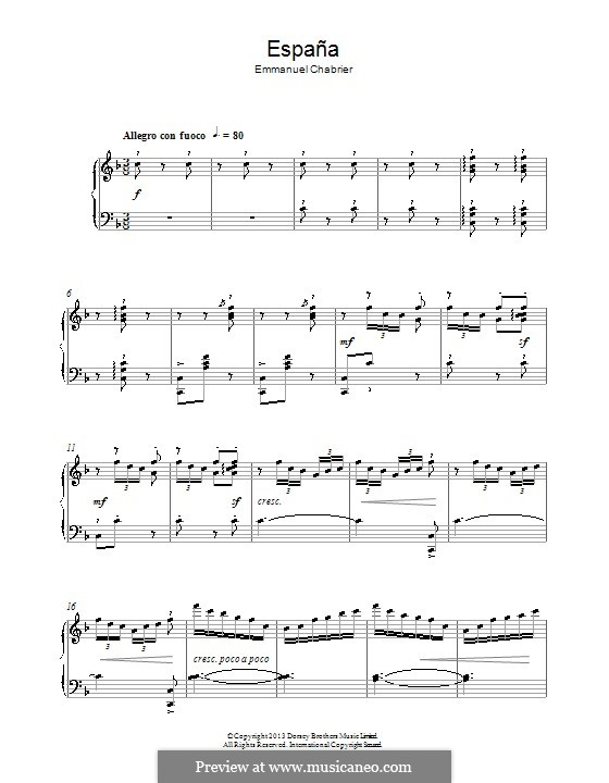 España: Theme. Version for piano by Emmanuel Chabrier