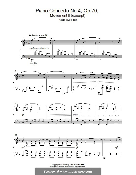 Concerto for Piano and Orchestra No.4 in D Minor, Op.70: Themes. Version for piano by Anton Rubinstein