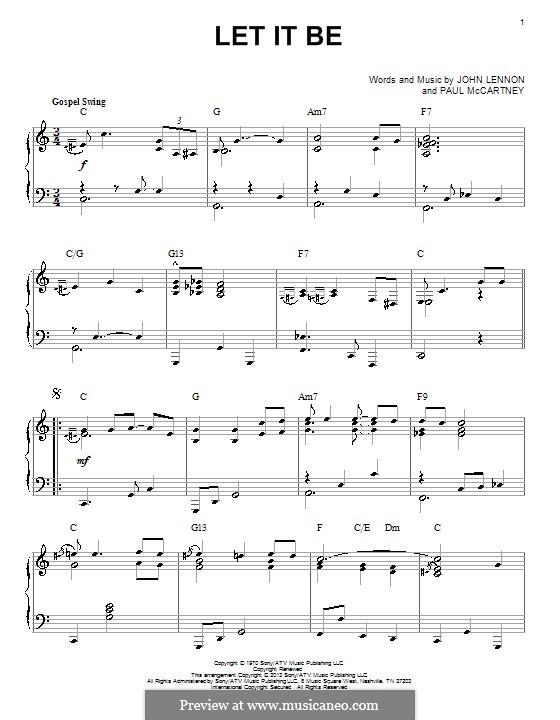 Let it Be, for Piano: Jazz version by John Lennon, Paul McCartney