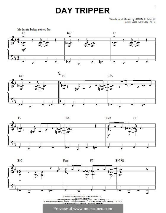 Day Tripper (The Beatles): For piano (jazz version) by John Lennon, Paul McCartney