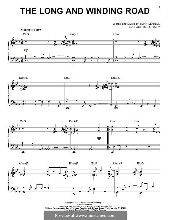 The Long and Winding Road (The Beatles): For piano (jazz version) by John Lennon, Paul McCartney