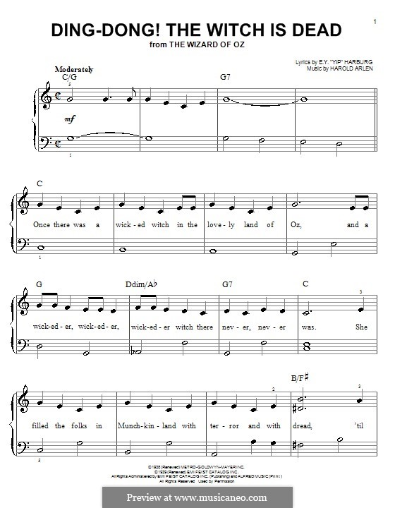 Ding-dong! The Witch Is Dead (from The Wizard of Oz): Para Piano by Harold Arlen