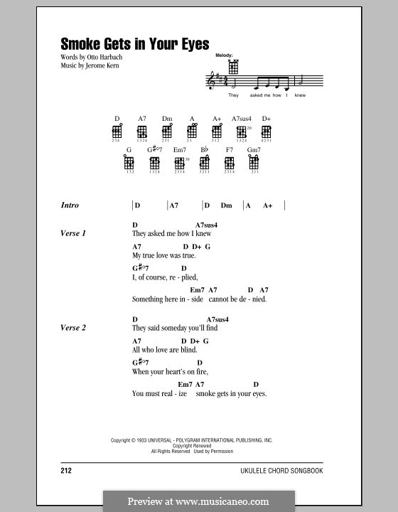 Smoke Gets in Your Eyes (from 'Roberta'): para ukulele by Jerome Kern