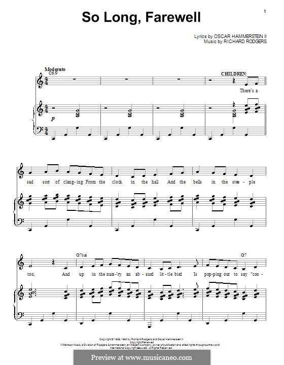 So Long, Farewell (from The Sound of Music): Para vocais e piano by Richard Rodgers