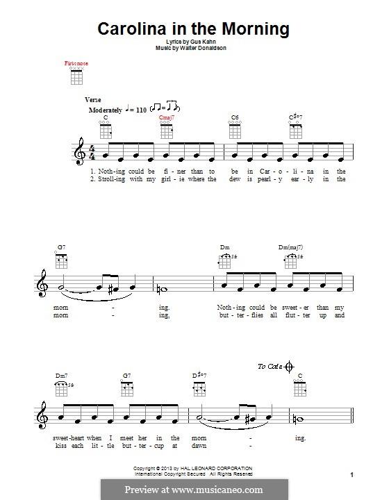 Carolina in the Morning: para ukulele by Walter Donaldson