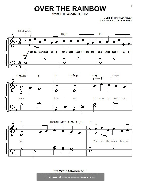 Over the Rainbow (from The Wizard of Oz): For piano (easy version) by Harold Arlen