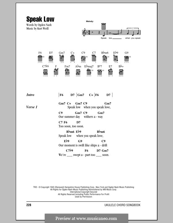 Speak Low: para ukulele by Kurt Weill