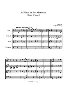 A Place in thy Memory: para quartetos de cordas by Unknown (works before 1850)