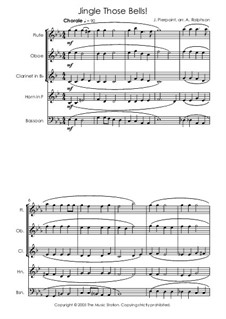 Jingle Those Bells: For wind quintet by James Lord Pierpont
