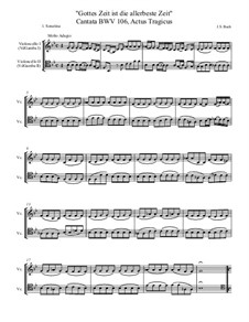 Gottes Zeit ist die allerbeste Zeit (God's Time is the Very Best Time), BWV 106: Gamba parts transcribed for cellos, in Eb by Johann Sebastian Bach